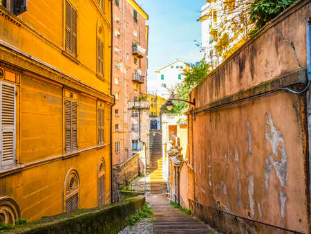 High dynamic range HDR View of Genoa old town in Italy