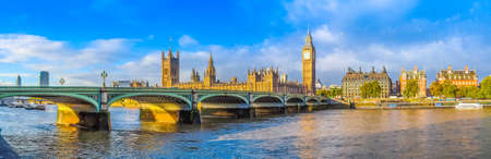 High dynamic range HDR Westminster Bridge panorama with the Houses of Parliament and Big Ben in London UK Stock Photo