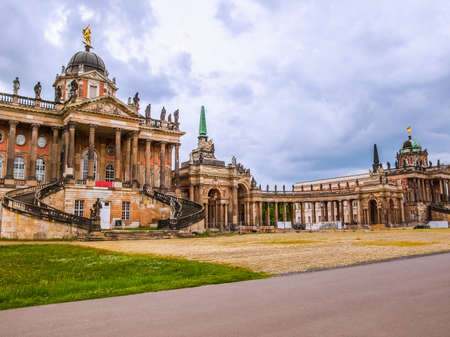 neues: High dynamic range HDR Ruins of the Neues Palais new royal palace in Park Sanssouci in Potsdam Berlin Editorial