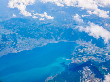 schweiz: High dynamic range HDR Aerial view of Bodensee lake aka Lake Constance at the border of Germany Switzerland and Austria in the Alps region