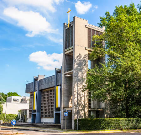 republik: LEIPZIG, GERMANY - JUNE 12, 2014: The Propsteikirche St Trinitas meaning Church of St Trinity parish church designed in 1968 by the school of architecture of the GDR is a masterpiece of modern architecture (HDR)