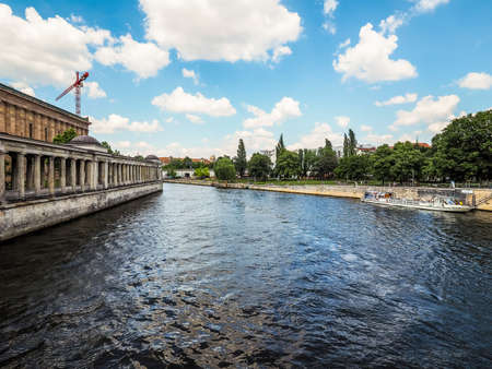 or spree: BERLIN, GERMANY - CIRCA JUNE 2016: Boat on River Spree (HDR) Editorial