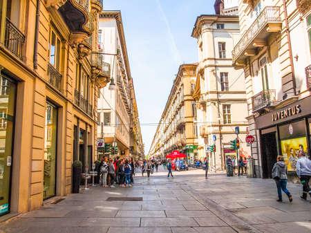 TURIN, ITALY - APRIL 09, 2014: People visiting Via Garibaldi high street (HDR)