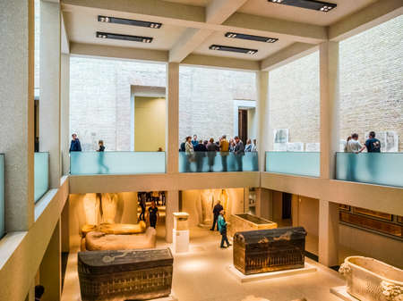 neues: BERLIN, GERMANY - CIRCA APRIL, 2010: Tourists visiting the Neues Museum meaning New Museum designed by British architect David Chipperfield (HDR) Editorial