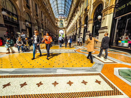vittorio: MILAN, ITALY - CIRCA APRIL 2016: Tourists in Galleria Vittorio Emanuele II gallery (HDR) Editorial