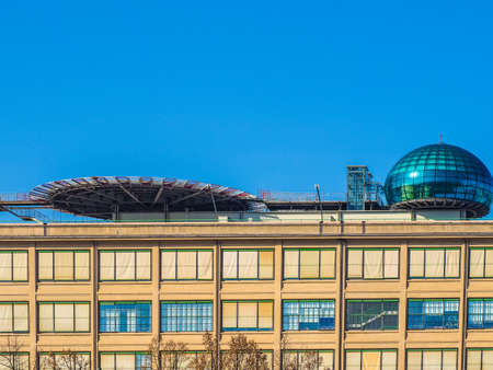 helipad: TURIN, ITALY - NOVEMBER 07, 2015: Roof meeting room know as La Bolla meaning The Bubble and helipad at Lingotto conference centre designed by Renzo Piano in former Fiat car factory (HDR)