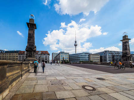spree: BERLIN, GERMANY - CIRCA JUNE 2016: Bridge over river Spree at Museumsinsel (meaning Museums Island) (HDR)