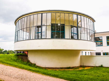 meaning: DESSAU, GERMANY - JUNE 13, 2014: Kornhaus meaning Granary is a restaurant designed by Carl Fieger in 1929 on the river Elbe in Dessau Rosslauer belonging to the Bauhaus (HDR)