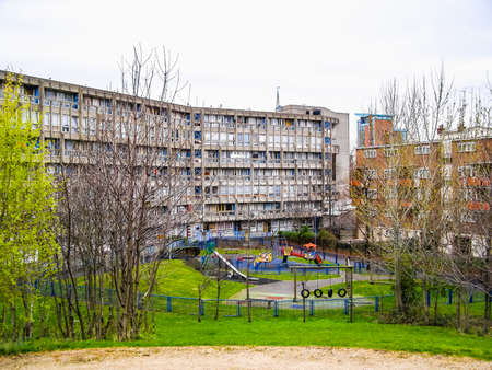 alison: LONDON, ENGLAND, UK - MARCH 05, 2009: The Robin Hood Gardens housing estate designed in late sixties by Alison and Peter Smithson is a masterpiece of new brutalist architecture (HDR) Editorial