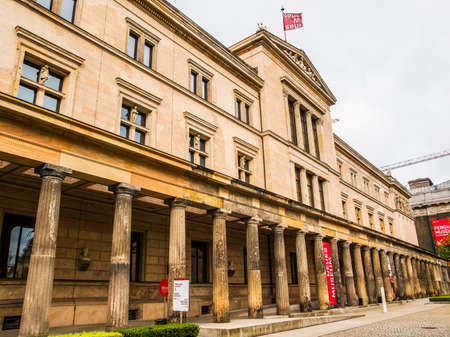 restored: BERLIN, GERMANY - MAY 10, 2014: The Neues Museum in Museumsinsel has been recently restored by British architect David Chipperfield (HDR)