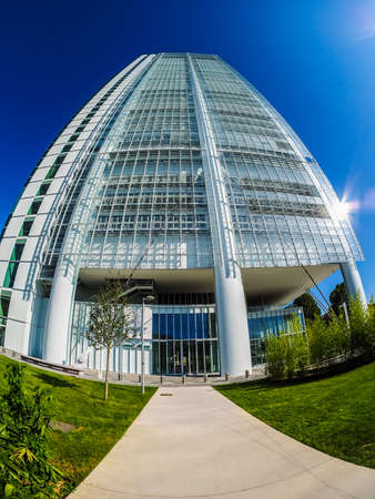 TURIN, ITALY - CIRCA SEPTEMBER, 2015: The new San Paolo headquarters designed by Renzo Piano are the highest skyscraper in town, seen with fisheye (HDR)