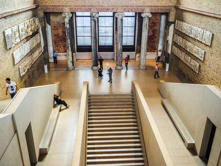 neues: BERLIN, GERMANY - CIRCA JUNE 2016: Tourists visiting the Neues Museum meaning New Museum in Museumsinsel in Berlin Germany (HDR)