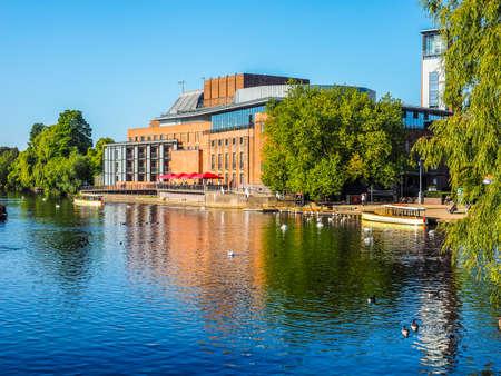 STRATFORD UPON AVON, UK - SEPTEMBER 26, 2015: Royal Shakespeare Theatre on River Avon in Shakespeare birth town (HDR)
