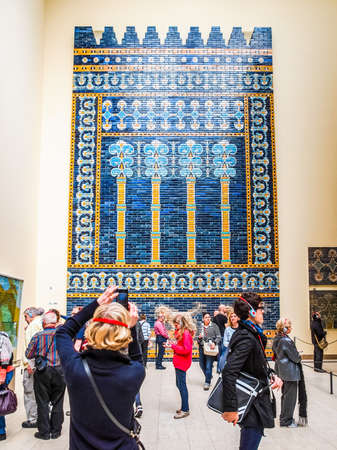 BERLIN, GERMANY - CIRCA MAY, 2014: Tourists visiting the Pergamon Museum of antiquities (HDR)