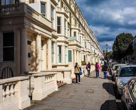 houses row: LONDON, UK - SEPTEMBER 27, 2015: Row of Terraced Houses (HDR)