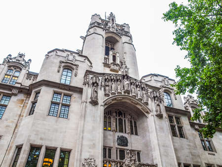 High dynamic range HDR The Supreme Court final court of appeal in Parliament Square London 스톡 콘텐츠