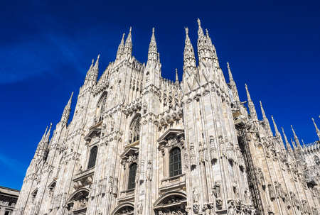 High dynamic range HDR Duomo di Milano gothic cathedral church in Milan, Italy Stock Photo