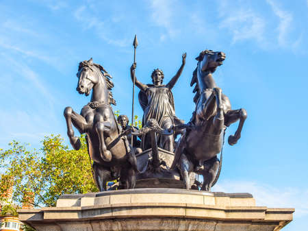 invader: High dynamic range HDR Statue of Boadicea Boudicca Queen of the Iceni who died AD 61 after leading her people against the Roman invader in UK