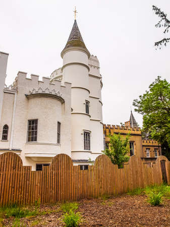 hill range: High dynamic range HDR Horace Walpole Strawberry Hill gothic villa built in London Twickenham in 1749 Stock Photo