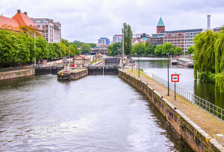 High dynamic range HDR View of River Spree in Berlin Germany Stock Photo