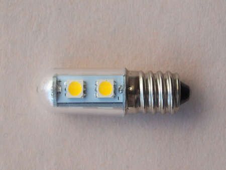 the light emitting: Led (Light Emitting Diod) light with E14 screw Stock Photo