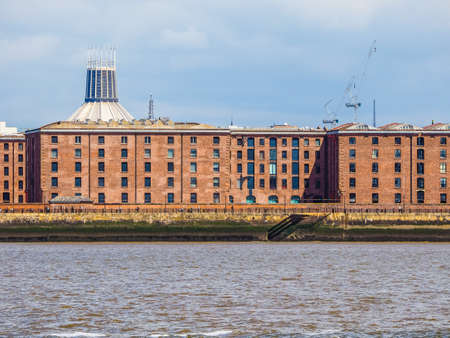lancashire: High dynamic range (HDR) The Albert Dock complex of dock buildings and warehouses in Liverpool, UK