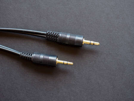 mini jack: Audio cable for music with mini jack connector Stock Photo