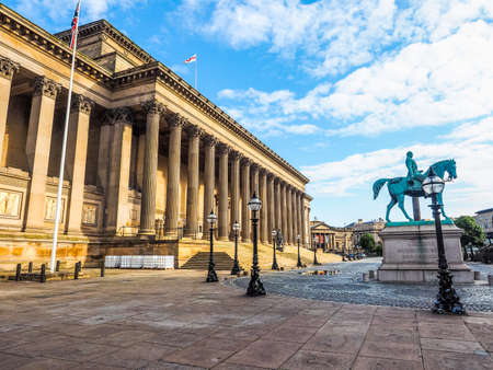 lancashire: High dynamic range (HDR) St George Hall concert halls and law courts on Lime Street in Liverpool, UK Stock Photo