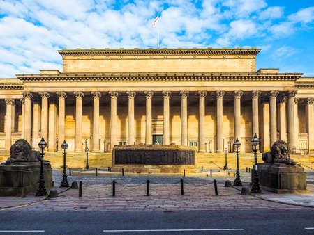 High dynamic range (HDR) St George Hall concert halls and law courts on Lime Street in Liverpool, UK Stock Photo