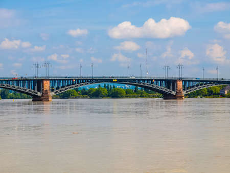 High dynamic range HDR Rhein river in the city of Mainz Germany