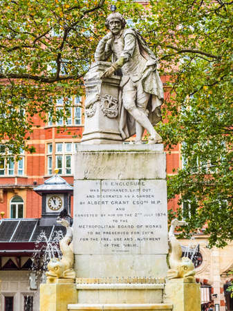 High dynamic range HDR Statue of William Shakespeare (year 1874) in Leicester square London UK Stock Photo