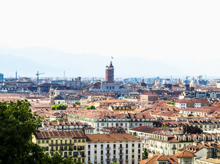 hill range: High dynamic range HDR Turin skyline panorama seen from the hill Stock Photo
