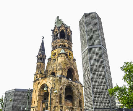 allied: High dynamic range HDR Ruins of Kaiser Wilhelm Memorial Church in Berlin, destroyed by Allied bombing and preserved as memorial Stock Photo