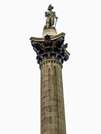 trafalgar: High dynamic range HDR Nelson Column monument in Trafalgar Square London UK - isolated over white background