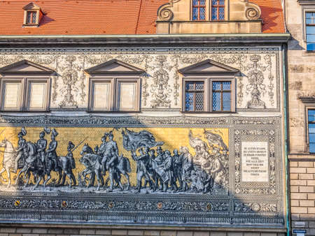 meaning: High dynamic range HDR Fuerstenzug meaning Procession of Princes, large mural of a mounted procession of the rulers of Saxony painted in 1871 in Dresden, Germany