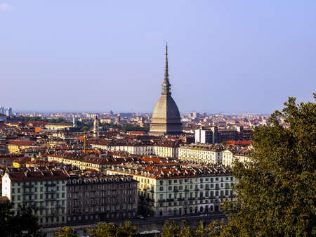 hill range: High dynamic range HDR Turin skyline panorama seen from the hill with Mole Antonelliana (famous ugly wedding cake building) Stock Photo