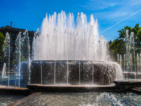 sforza: High dynamic range HDR Fountain in front of Castello Sforzesco in Milan