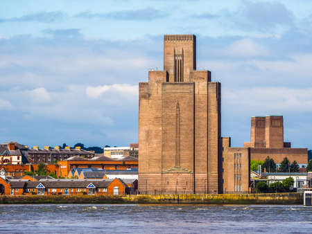 mersey: High dynamic range (HDR) View of Birkenhead skyline across the Mersey river in Liverpool, UK