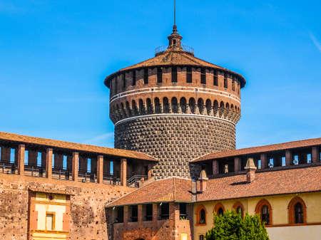 sforza: High dynamic range HDR Castello Sforzesco (Sforza Castle) in Milan Italy Editorial