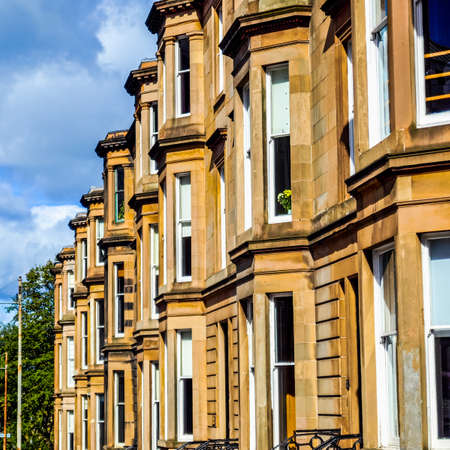 west end: High dynamic range HDR A row of terraced houses in Glasgow West End, Scotland Stock Photo