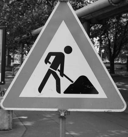road works: Warning signs,  Road works traffic sign in black and white