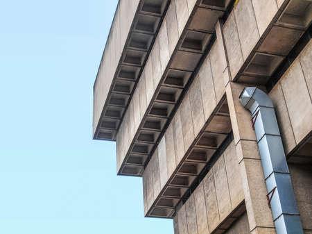 rationalism: High dynamic range HDR Birmingham Central Library, iconic brutalist concrete building, UK