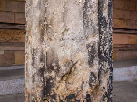 ww2: High dynamic range HDR Column damaged by air raid bombing during WW2 in Berlin Museumsinsel Stock Photo