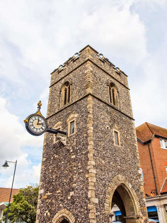 george: High dynamic range HDR Ruins of St George church tower in Canterbury UK
