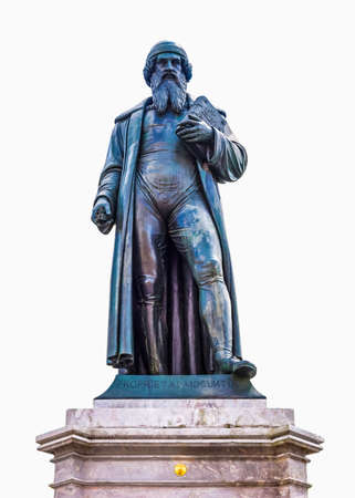 High dynamic range HDR Gutenberg statue monument in Mainz in Germany - isolated over white background