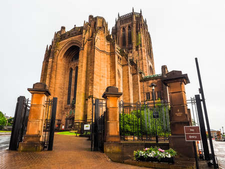 giles: High dynamic range (HDR) Liverpool Cathedral aka Cathedral Church of Christ or Cathedral Church of the Risen Christ on St James Mount in Liverpool, UK