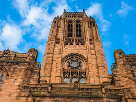 lancashire: High dynamic range (HDR) Liverpool Cathedral aka Cathedral Church of Christ or Cathedral Church of the Risen Christ on St James Mount in Liverpool, UK