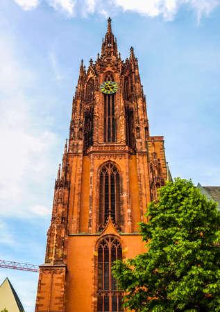 roemerberg: High dynamic range HDR Frankfurter Dom Cathedral in Roemerberg Frankfurt am Main Germany