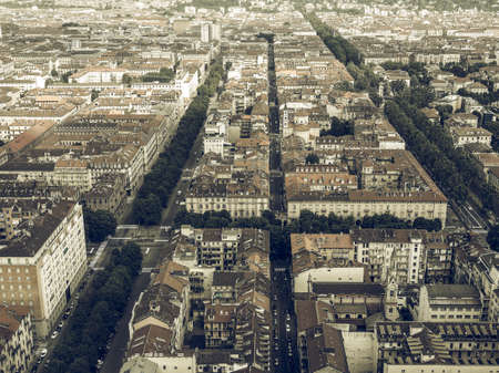 desaturated: Vintage desaturated Aerial view of the city centre of Turin, Italy