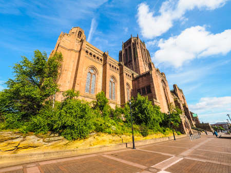 High dynamic range (HDR) Liverpool Cathedral aka Cathedral Church of Christ or Cathedral Church of the Risen Christ on St James Mount in Liverpool, UK